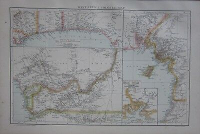 1893 Large Antique Map ~ West Africa Colonial Slave Coast Cameroon District