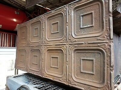 "Raised Block with Hammered Center Band Pattern "" 24"" X 48 "" Tin Ceiling Panels"