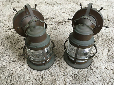 Vintage Nautical theme wall sconces with mounting plates brass glass lens patina