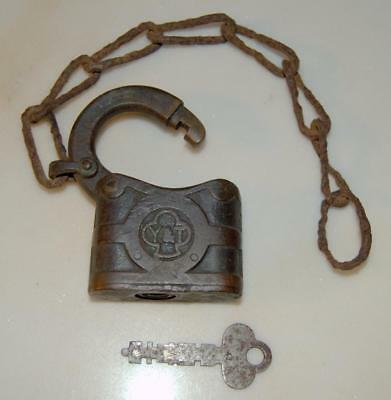 Antique Yale Brass Padlock With Key And Chain Y&T ~154