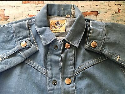 Child`s 1960`s Wrangler Blue Bell Sky Blue Stud Up 2 Pkt  Denim Jacket 6X7 Us