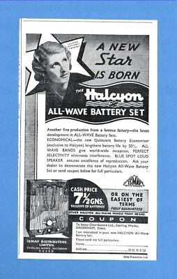 "The  ""HALCYON"" ALL WAVE BATTERY RADIO - Dagenham    (1936 Advertisement)"