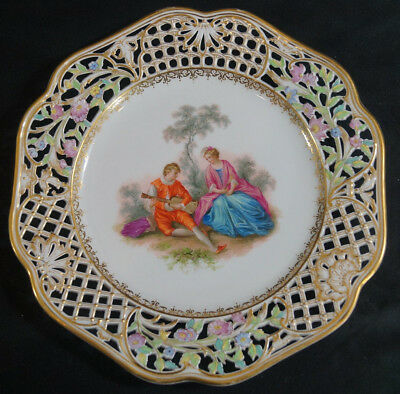 KPM Berlin Reticulated Hand Painted Courting Couple Plate Circa 1890 - 1900