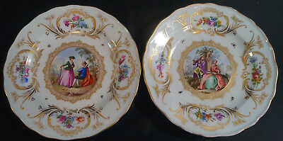 Pair of Early 19th Century Meissen Hand Painted Courting Couple & Gilt Plates