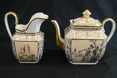 Tiffany & Co Avenir Limoges Transfer & Gold Gilt Tea Pot & Pitcher C 1891 - 1905