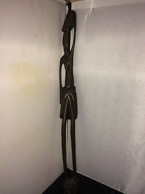 "Vintage African Tribal Fertility Statue Hand Carved Wood Female 19"" Kenya"