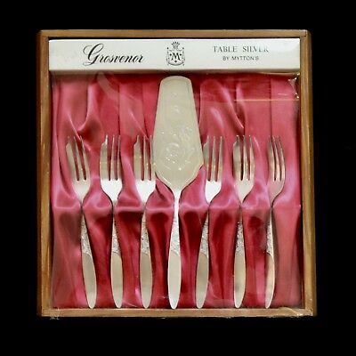 Vintage Grosvenor Christine Cake Forks & Lifter - Set of 6 Boxed- EPNS A1 - VGC