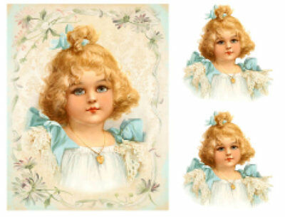 Vintage Image Shabby Victorian Girl Waterslide Decal Transfers KID682 U PIC SIZE