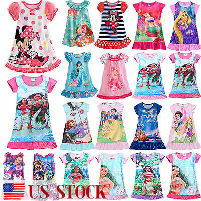 Kids Girl Dress Cartoon Summer T Shirt Dress Nightwear Nightdress Nightie Pajama