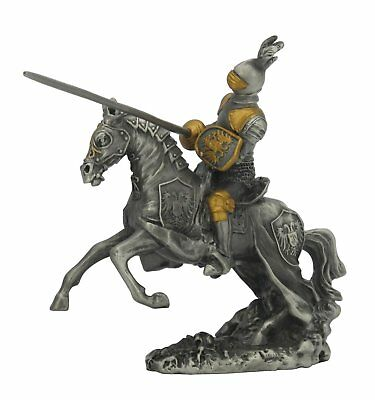 Dal Rossi Veronese Jousting Armoured Knight All Pewter Hand Painted Figurine