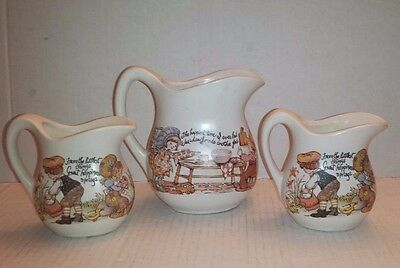 3 VINTAGE McCOY USA PITCHERS Country Boy Girl HOLLIE HOBBY Creamer MOTTO Garden