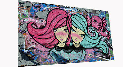 Framed Canvas  street art twin girls abstract painting ready to hang