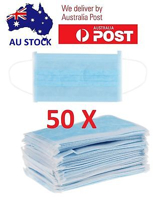 * 50X Disposable 3-Ply Ear Loop Face Mask Dental Surgical Nail Flu Safety Aus