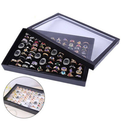 Display Storage Box Tray Holder Ring Earring Jewelry Organizer Case Show 100Ring