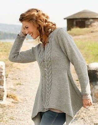 Womans, Ladies Medieval Asymmetric Aran Cable Jacket KNITTING PATTERN -PDF 475