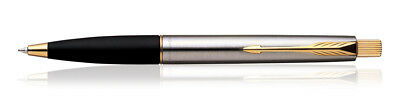 Parker Frontier Stainless Steel GT Gold Trim Ball Point Pen Premium Gift Box