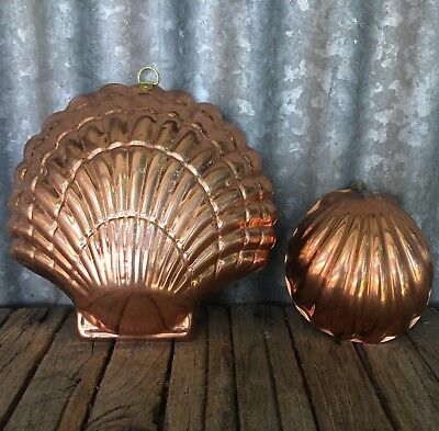Lot Of 2 SOLID COPPER Seashell SHELL SHAPED JELLY MOULDS Wall Hanging PORTUGAL