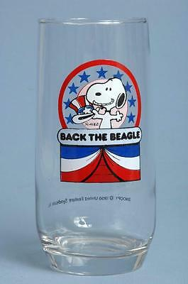 Vintage Peanuts Snoopy Back The Beagle Drinking Glass Political USA President