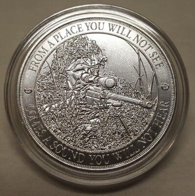 1oz American Sniper Rifle Gun .999 Fine Silver Round Coin Long Distance Shot