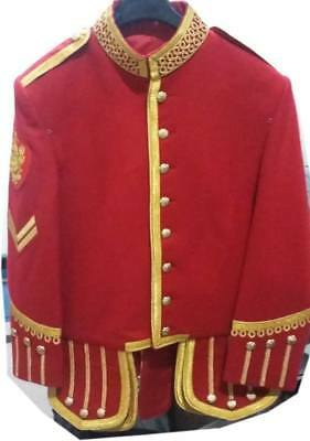 Profesional Hand Made Red Mens Military Piper Drummer Doublet Jacket 100% Wool