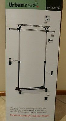 Stainless Steel Single Rail Garment Stand with Shoe and Storage Rack