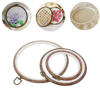 S L M Round Oval Wooden Embroidery Cross Stitch Ring Hoop Frame Sewing Craft