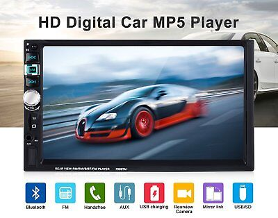 "7"" Double 2DIN Car MP5 MP3 Player Bluetooth Mirror Link Touch Screen Radio+GPS L"