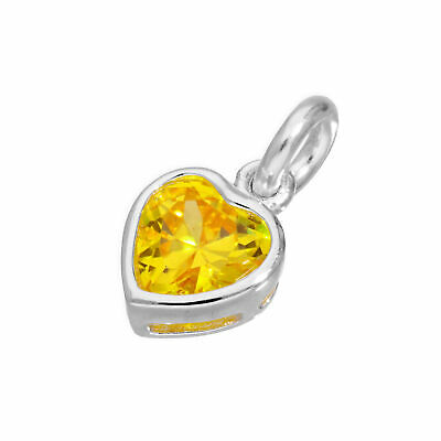 925 Real Sterling Silver & Yellow CZ Crystal Heart Charm Love Hearts Charms