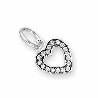 Real 925 Sterling Silver & Clear CZ Crystal Open Heart Charm w Black Rhodium