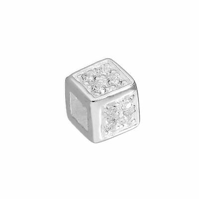 Real 925 Sterling Silver & Clear CZ Crystal Cube Bead Charm Square Beads Charms