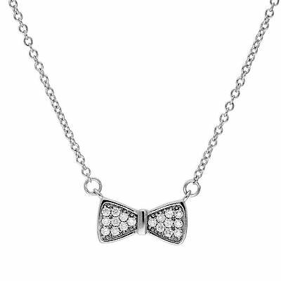 Real 925 Sterling Silver & Clear CZ Crystal Bow Necklace Ribbon Accessory Pretty