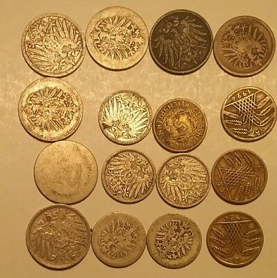16 Coin Lot Old Germany Reich Pfennig Copper Nickel Silver 1 2.5 5 10 Old Coins
