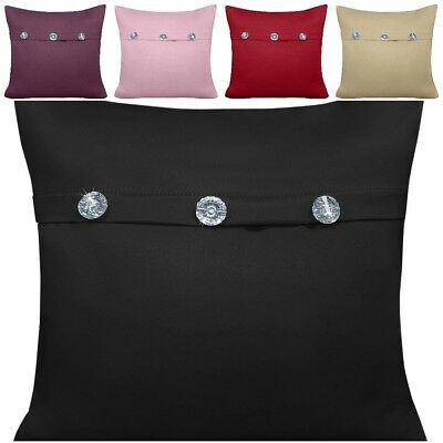 Home Decor Luxury Plain Classy Faux Silk Cushion Covers With Crystal Buttons