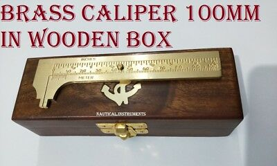 Solid Brass Pocket Vernier Caliper 4 Inch Or 100 Mm Sliding Gauge In Wooden Box