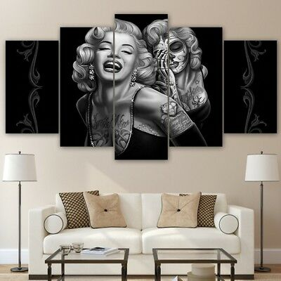 FRAMED MARILYN MONROE Canvas Print 5 Panel Poster Wall Art Painting ...