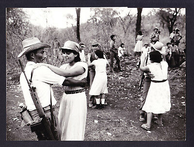 1980s French Press Photo El Salvador Politics Radio Station Soldier Native Dance