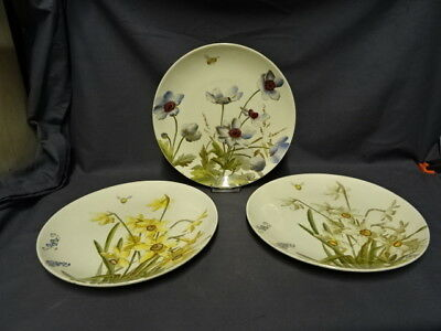 "Antique Set Of 3 George Jones Familiar Flowers 8.75"" Diameter Plates"