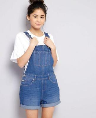 New Ex 915 New Look Stonewash Blue Denim Dungaree Shorts 11 12 13 & 14 yrs