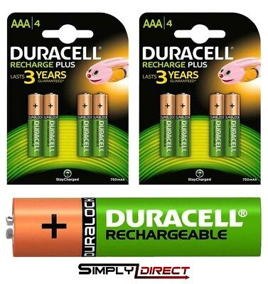 Duracell AA  & AAA Rechargeable Ultra Stay Charged Batteries, HR6 HR03 Duralock