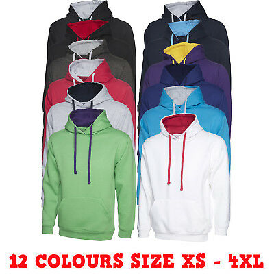 Unisex Mens Womens Contrast Hooded Sweatshirt Casual Brushed Pullover Jumper LOT