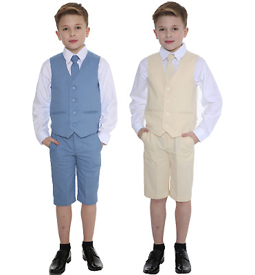 Boys Suits Linen Suit, 4 Piece Short Set Suit, Wedding Page boy Formal Baby Boys