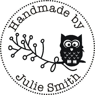 Personalised Handmade by Rubber Stamp (Handmade by 'Your Name') + FREE BLACK PAD