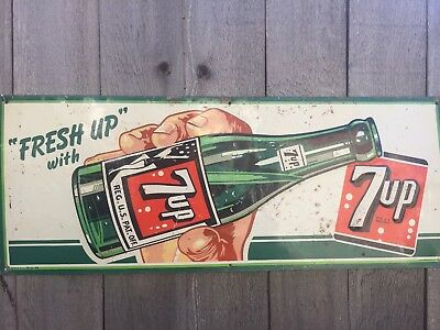Rare 1949 7up metal sign. Made by Stout Sign Co
