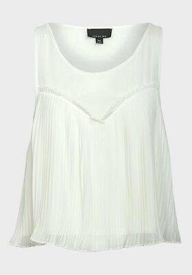 TOPSHOP White Blouse Top Size 6, 8,10 Sleeveless Cropped Cami  (M90)