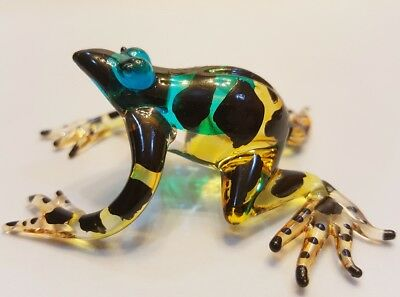 ฺFrog20 Figurine Art Animal Hand Blown Glass Miniature Collect Home Decor Gift