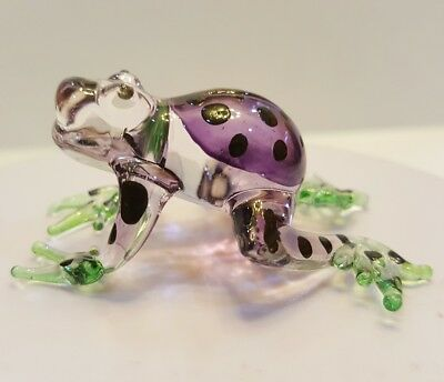ฺFrog21 Figurine Art Animal Hand Blown Glass Miniature Collect Home Decor Gift