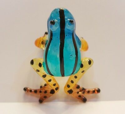 ฺFrog22 Figurine Art Animal Hand Blown Glass Miniature Collect Home Decor Gift