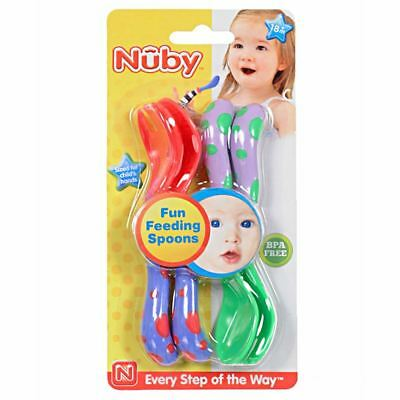 Nuby Fun Toddler / Baby Feeding Spoons & Forks Set, BPA Free - 4 Pack, Red/Green