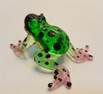 ฺFrog24 Figurine Art Animal Hand Blown Glass Miniature Collect Home Decor Gift