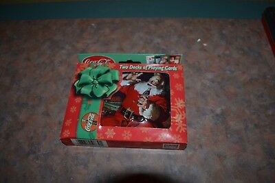 NEW Coca Cola Santa Collector Tin & 2 Decks of Playing Cards